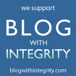 BlogWithIntegrity.com badge on OneQuarterMama.ca